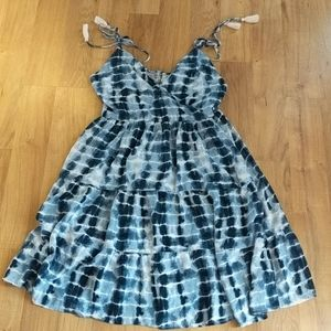 Blue Tie Dye Strapless Beach Dress // 1X